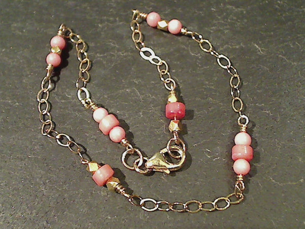"10"" Pink Coral, Gold Filled Anklet"
