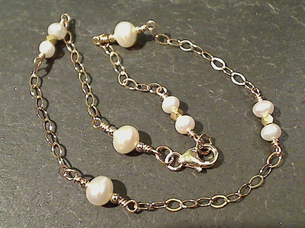 "10"" Pearl, Gold Filled Anklet"