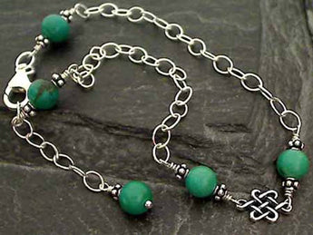 "9""-10"" Turquoise, Sterling Silver Anklet"