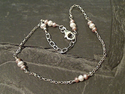 "9""-10.5"" Pearl, Sterling Silver Anklet"