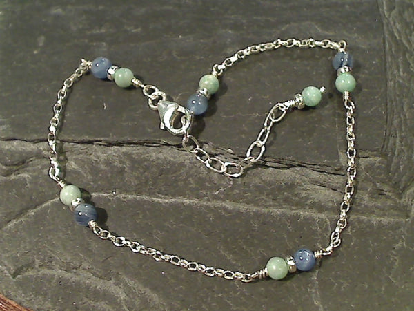 "9""-10.5"" Amazonite, Kyanite, Sterling Anklet"