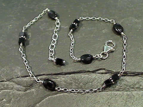 "9.5""-10.5"" Onyx, Sterling Silver Anklet"