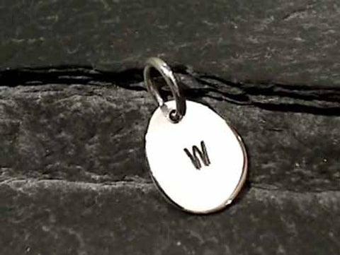 "Sterling Silver Letter ""W"" Charm"