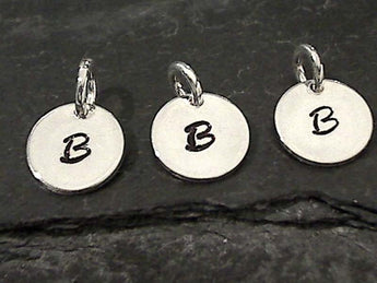 Letter B Charm, Sterling Silver