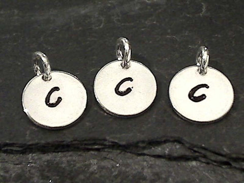 Letter C Charm, Sterling Silver