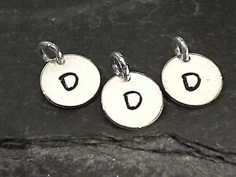 Letter D Charm, Sterling Silver