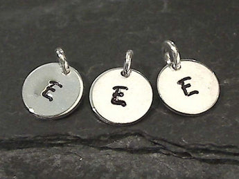 Letter E Charm, Sterling Silver