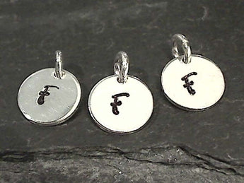 Letter F Charm, Sterling Silver