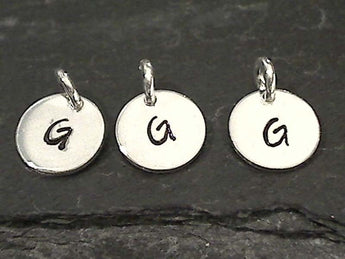 Letter G Charm, Sterling Silver