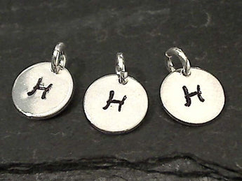 Letter H Charm, Sterling Silver