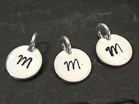 Letter M Charm, Sterling Silver