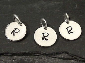 Letter R Charm, Sterling Silver