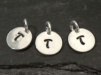 Letter T Charm, Sterling Silver