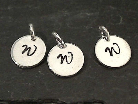 Letter W Charm, Sterling Silver