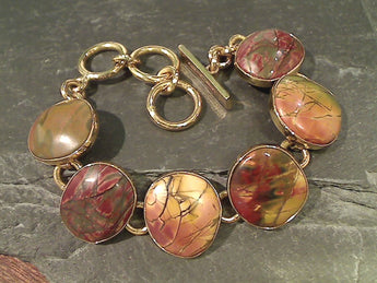 "6""-7.25"" Red Creek Jasper, Alchemia Bracelet"