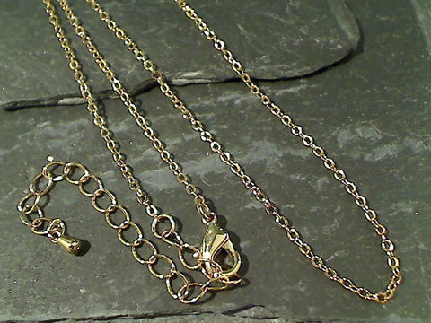 "17"" - 20"" Gold Tone Cable Link Chain"