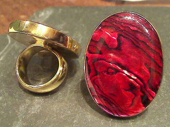 Dyed Red Abalone, Alchemia Ring, Adj. Size