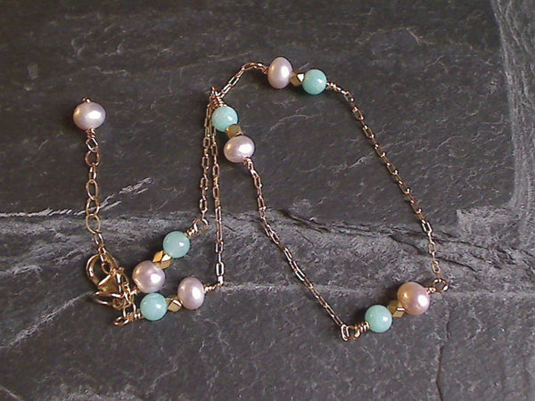 "10"" - 11"" Amazonite, Pearl, Gold Filled Anklet"
