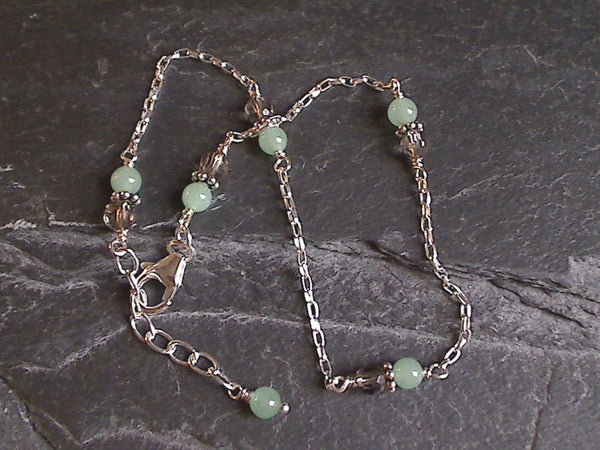 "10"" - 11"" Amazonite, Smokey Quartz, Sterling Silver Anklet"