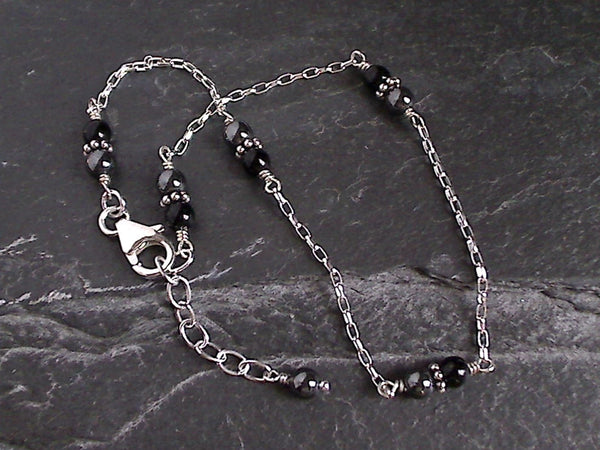 "10"" - 11"" Hematite, Black Onyx, Sterling Silver Anklet"