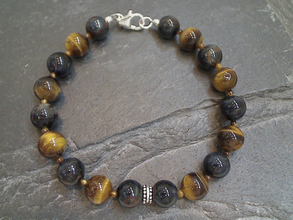 Tiger's Eye, Sterling Silver Bracelet - 7.5""
