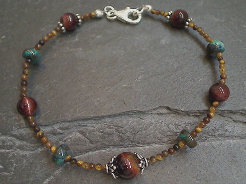 "7.5"" Tiger's Eye, Chrysocolla, Sterling Silver Bracelet"