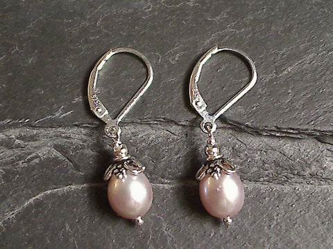 Blush Pearl, Sterling Silver Earrings