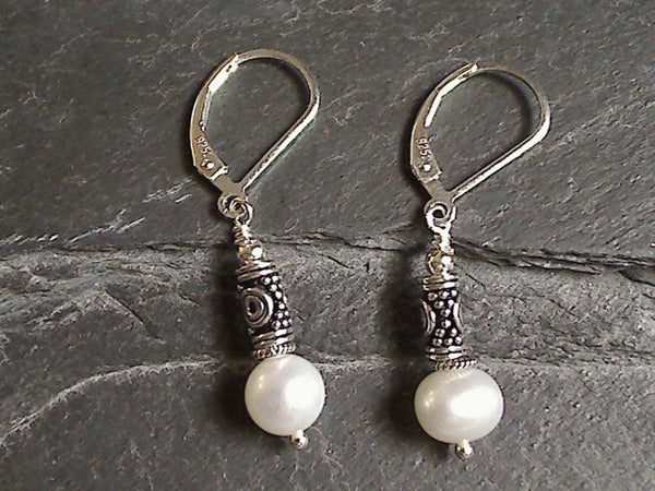 Pearl, Sterling Silver Earrings