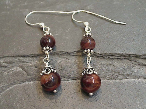Red Tiger's Eye Sterling Silver Earrings