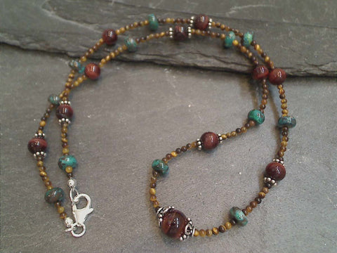 "18"" Tiger's Eye, Chrysocolla, Sterling Silver Necklace"