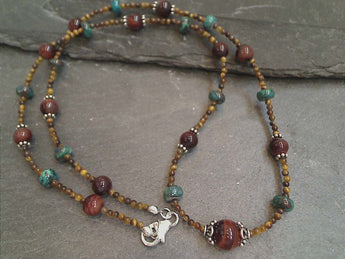 "20"" Tiger's Eye, Chrysocolla, Sterling Silver Necklace"
