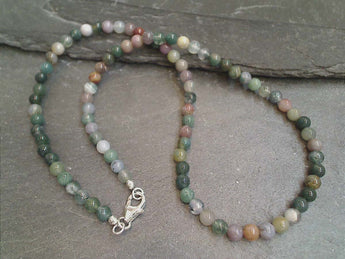 "16"" Agate, Sterling Silver Necklace"