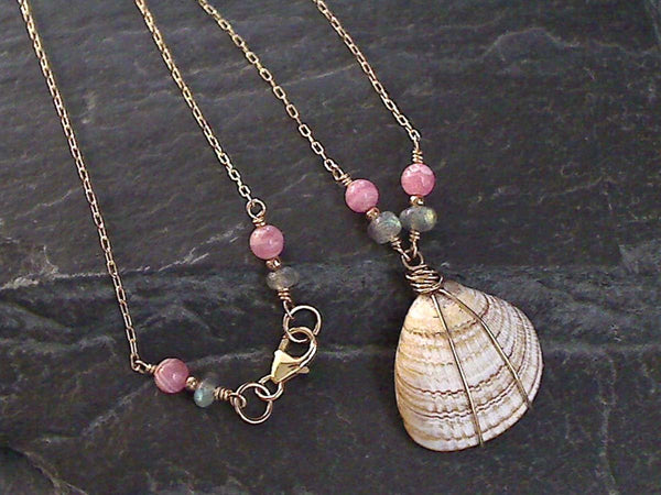 "19"" Sea Shell, Labradorite, Rhodochrosite, Gold Filled Necklace"