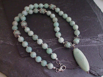 "18"" Amazonite Sterling Silver Necklace"