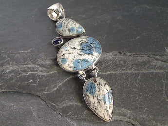K2 Stone, Kyanite, Sterling Silver Large Pendant