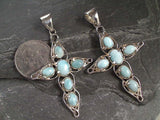 Larimar, Sterling Silver Cross Pendant
