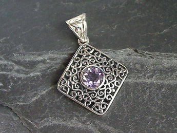 Amethyst, Sterling Silver Pendant