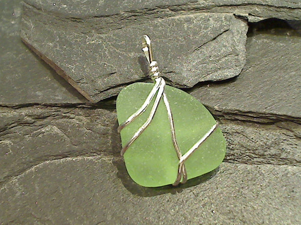 NJ Sea Glass, Sterling Silver Pendant