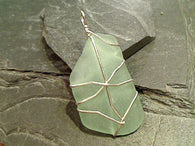Large OBX Sea Glass, Sterling Silver Pendant