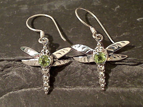 Peridot, .925 Dragonfly Earrings