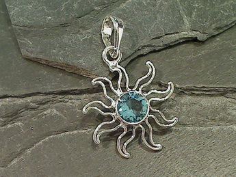Blue Topaz Sun Pendant 9mm Stone, Sterling