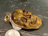 Tiger's Eye, Alchemia Large Skull Pendant