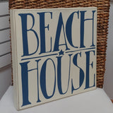 ''Beach House'' Large Box Sign 14'' x 14''