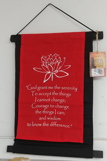 Serenity Prayer w/ Lotus Scroll Banner 15'' x 10''