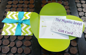 THE MYSTIC JEWEL GIFT CARD - Green Color Card Holder w/ Blue Ribbon! Select From $10 to $400