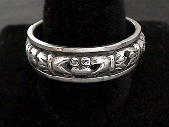 Size 14.5 Sterling Silver 8mm Claddagh Spinner Ring