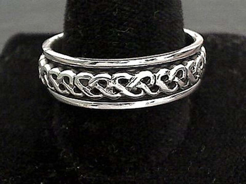 Size 14 Sterling Silver 7mm Celtic Spinner Ring