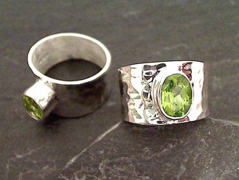 Peridot, Sterling Silver Ring - Size 6