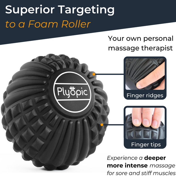 Plyopic Deep Tissue Massage Ball - Superior Targeting to a Foam Roller
