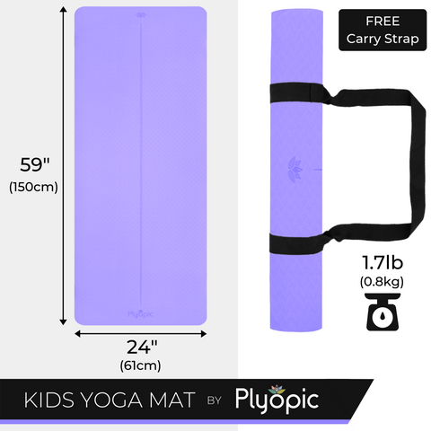 Plyopic Kids Yoga Mat - Purple - Dimensions and Weight